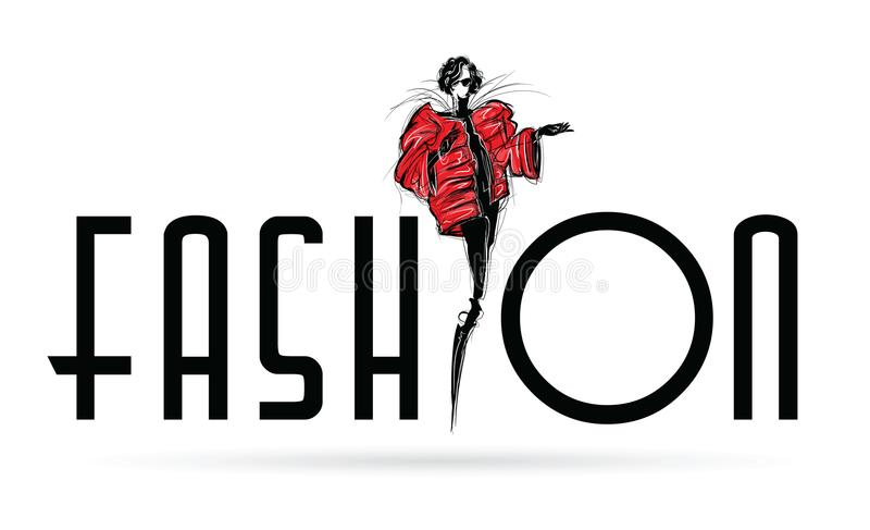 Fille de mode dans le croquis-type Verticale de femme de mode illustration libre de droits
