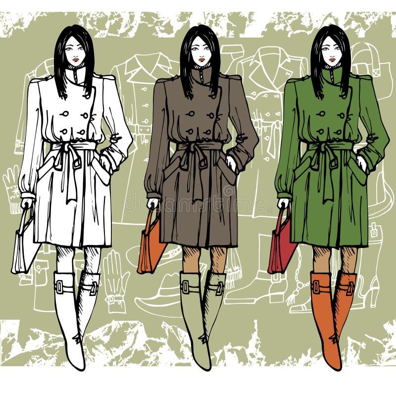 Fille de mode dans le manteau Fond grunge croquis illustration libre de droits