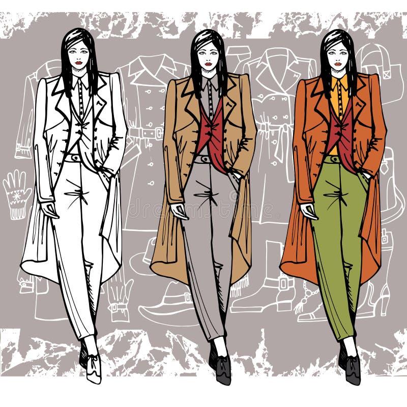 Fille de mode dans le manteau Type de croquis grunge illustration stock