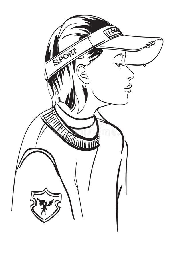 Fille de mode Fille dans un style urbain de chapeau illustration de vecteur