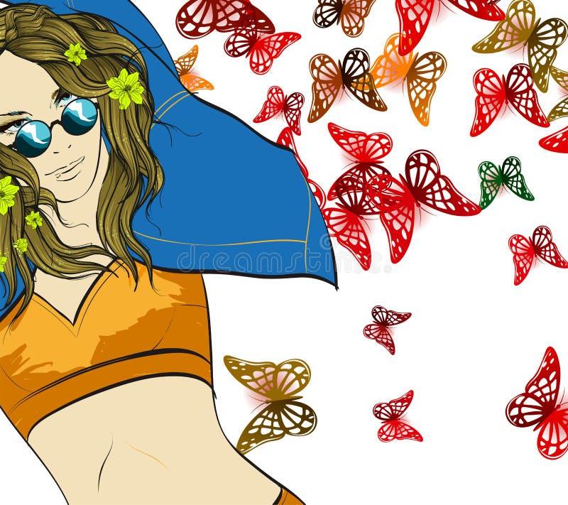 Fille de mode dans une veste de denim, sur un fond de papillons Femme d'?t? illustration de vecteur