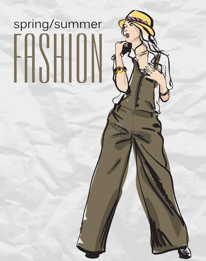 Fille de mode de Prety. illustration stock