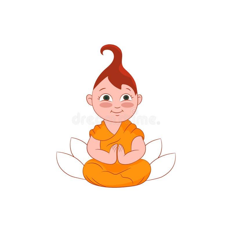 Fille de moine bouddhiste dans l'illustration de prière de posture avec le lotus sur le fond Icône plate de caractère de vecteur  illustration de vecteur