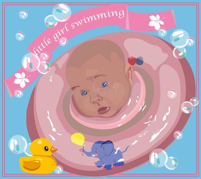 Fille de natation d'affiche avec la ligne de sauvetage rose photographie stock libre de droits