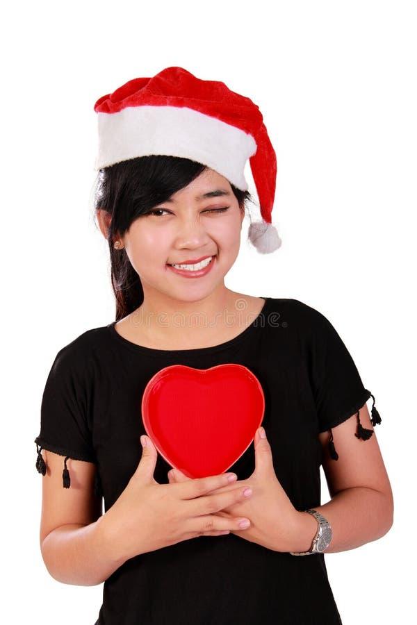 Fille de Noël dans l'amour photo libre de droits