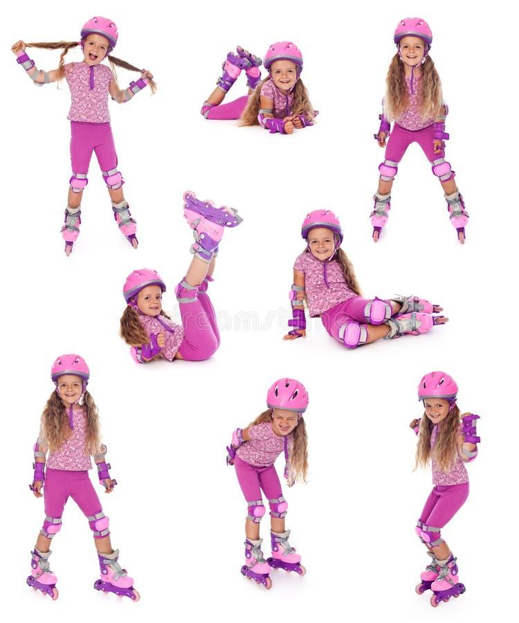 Fille de patineur de rouleau dans différentes positions images libres de droits