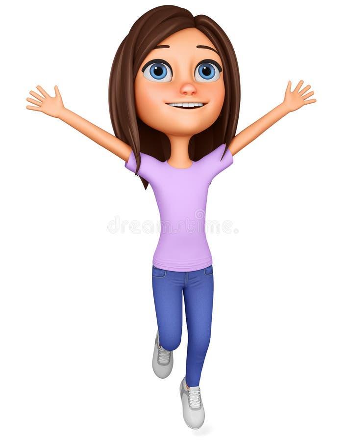 Fille de personnage de dessin animé sautant heureusement  rendu 3d la publicit? de la vente d'illustration illustration libre de droits