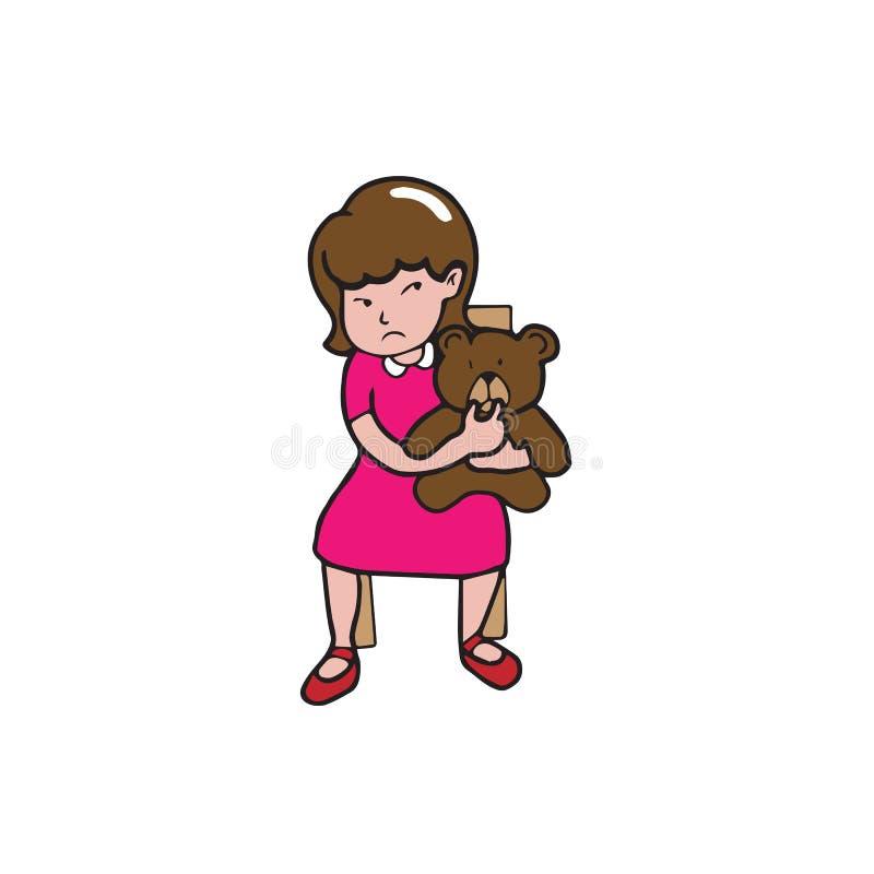 Fille de personnes et ours de nounours illustration de vecteur