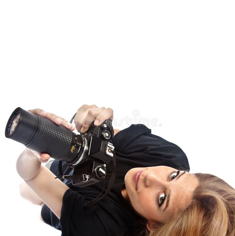Fille de photographe photo libre de droits