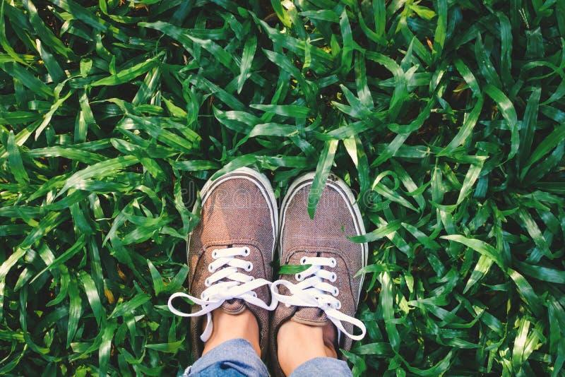 Fille de pieds de hippie de vue supérieure sur l'herbe verte image stock