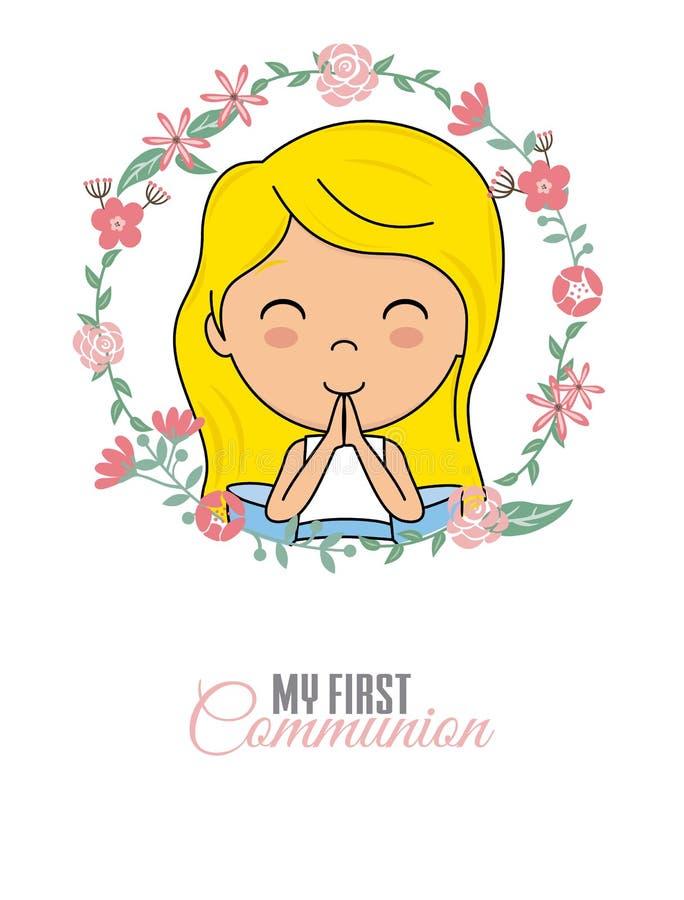 Fille de prière à l'intérieur d'un cadre de fleur illustration libre de droits
