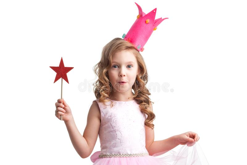 Fille de princesse de sucrerie avec la baguette magique magique images stock