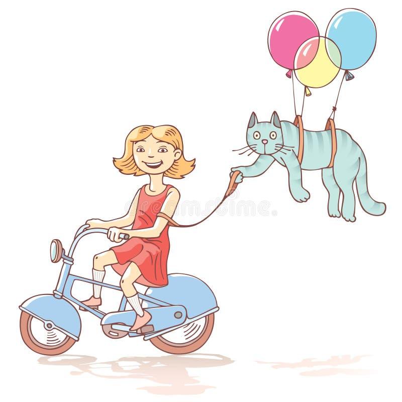 Fille de recyclage avec le chat illustration de vecteur
