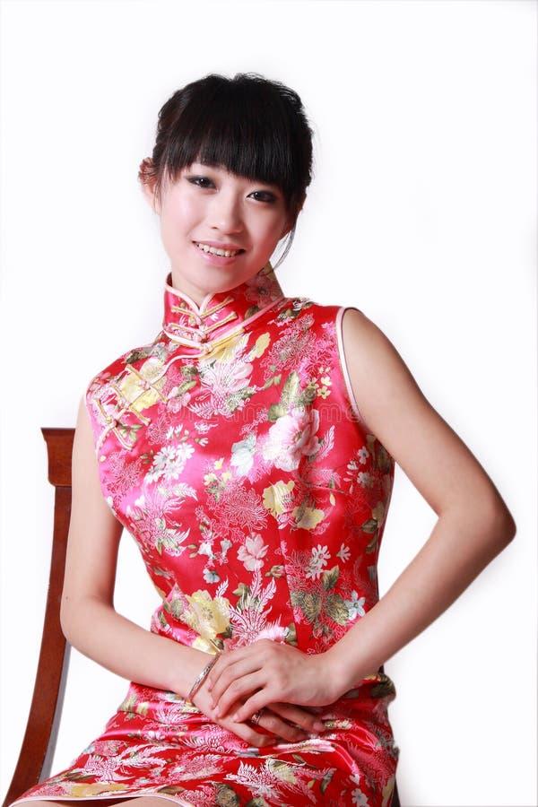 fille de robe de Chinois traditionnelle photographie stock