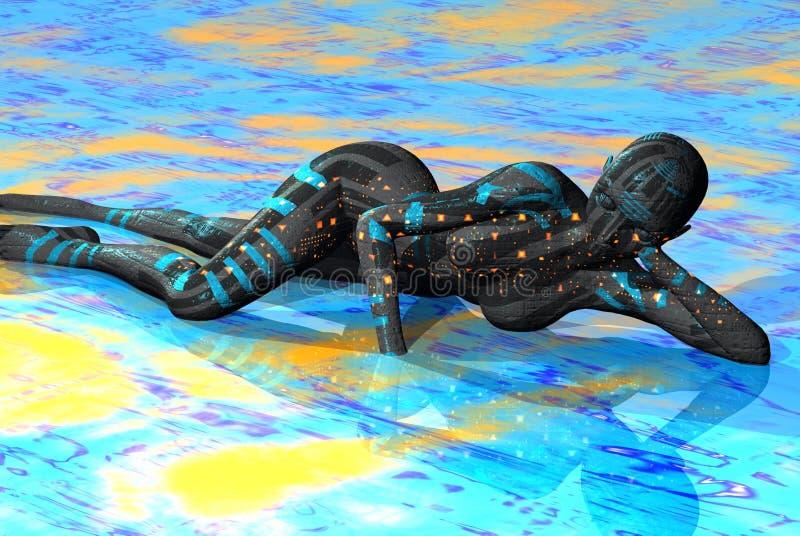 Fille de robot illustration de vecteur