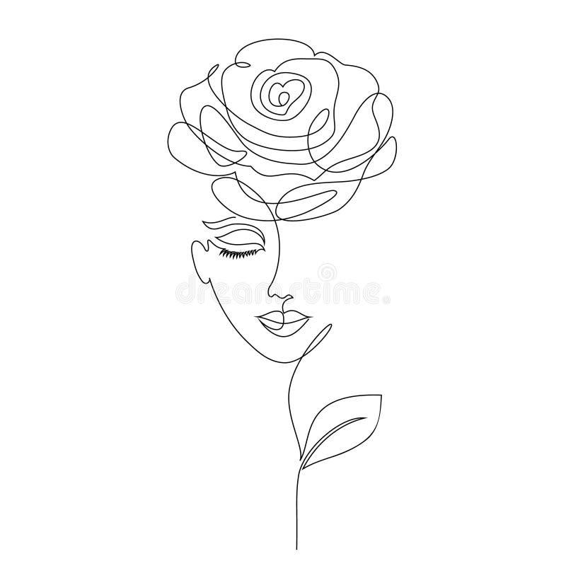 Fille de Rose sur le blanc illustration de vecteur