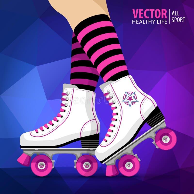 Fille de rouleau Le quadruple patine classique Patins de rouleau Fond de sport Illustration de vecteur illustration libre de droits