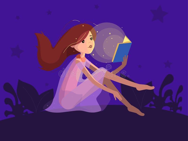 Fille de roux lisant un livre images libres de droits