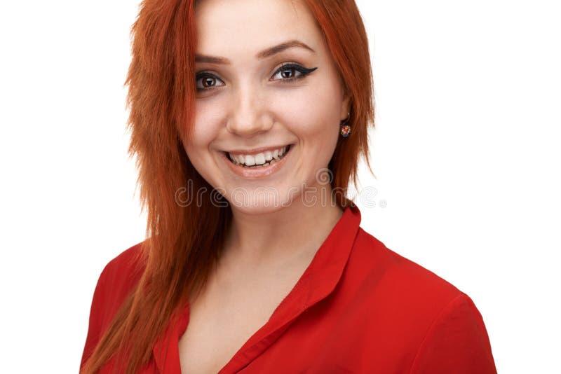Fille de roux souriant généreusement photos libres de droits
