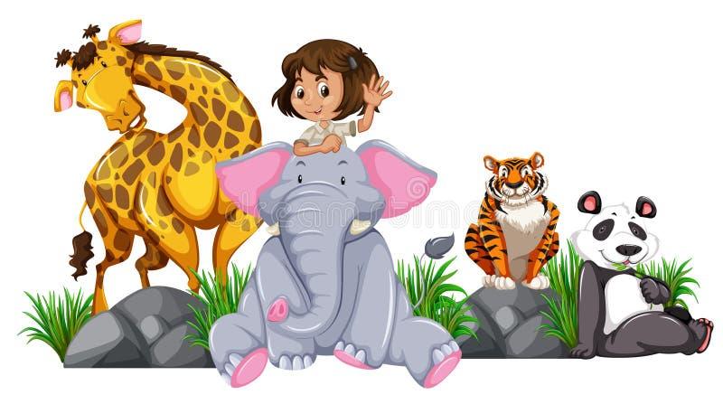 Fille de safari avec les animaux sauvages illustration libre de droits