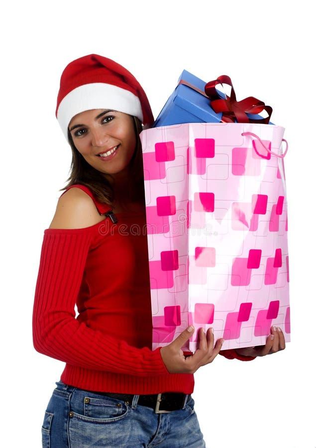 Fille de Santa avec des cadeaux images stock