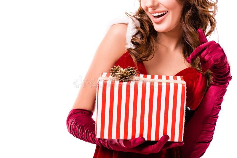 Fille de Santa avec le cadeau images libres de droits