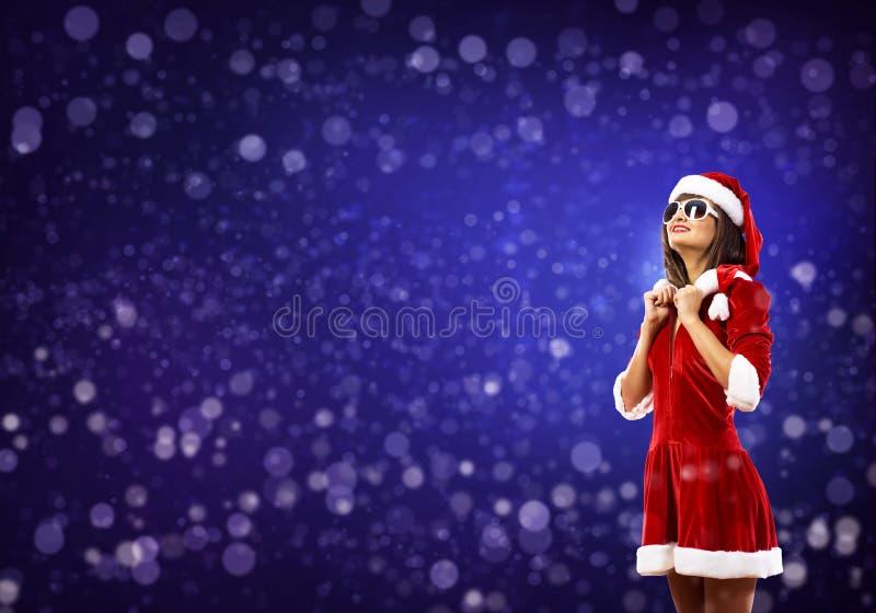 Fille de Santa dans le costume photos libres de droits