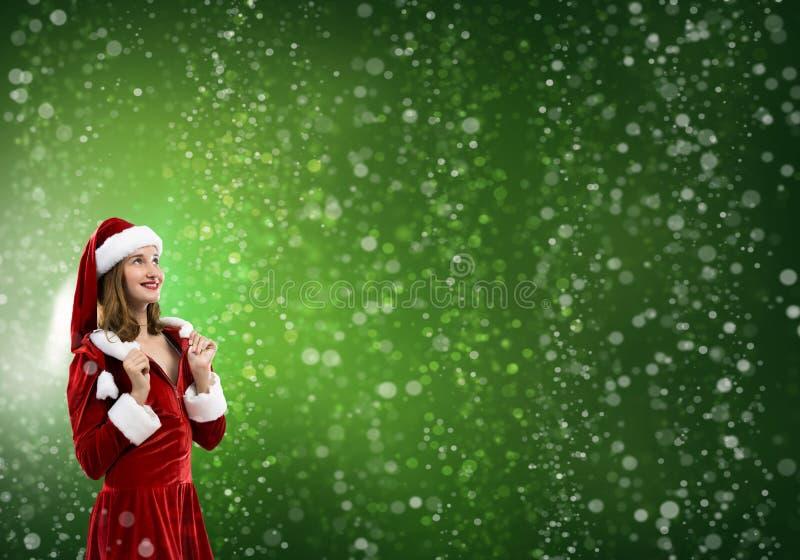 Fille de Santa dans le costume images libres de droits