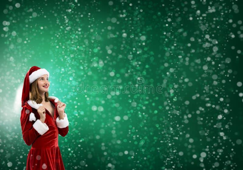Fille de Santa dans le costume photos stock