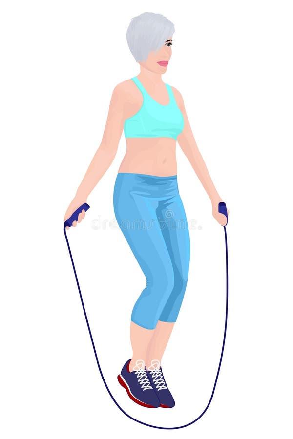 Fille de saut récréation Concept workout illustration libre de droits