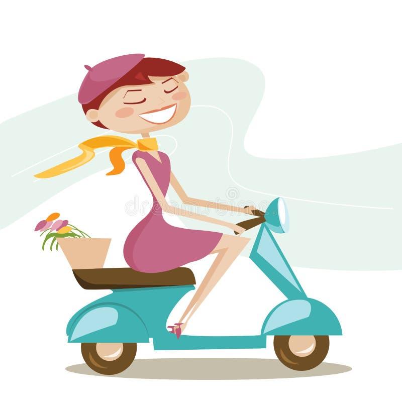 Fille de scooter illustration libre de droits