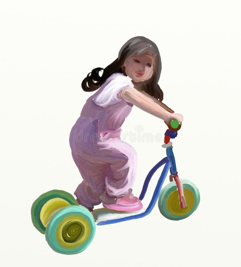 Fille de scooter illustration de vecteur