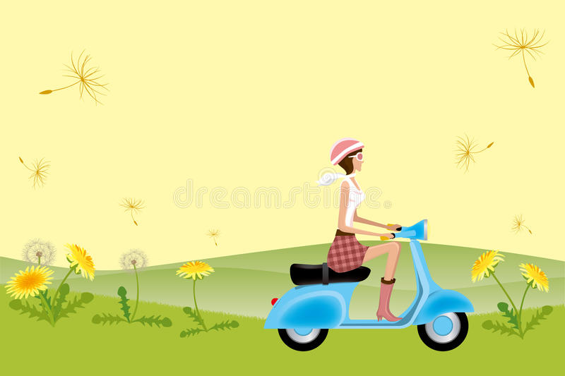 Fille de scooter sur des graines de pissenlit illustration stock