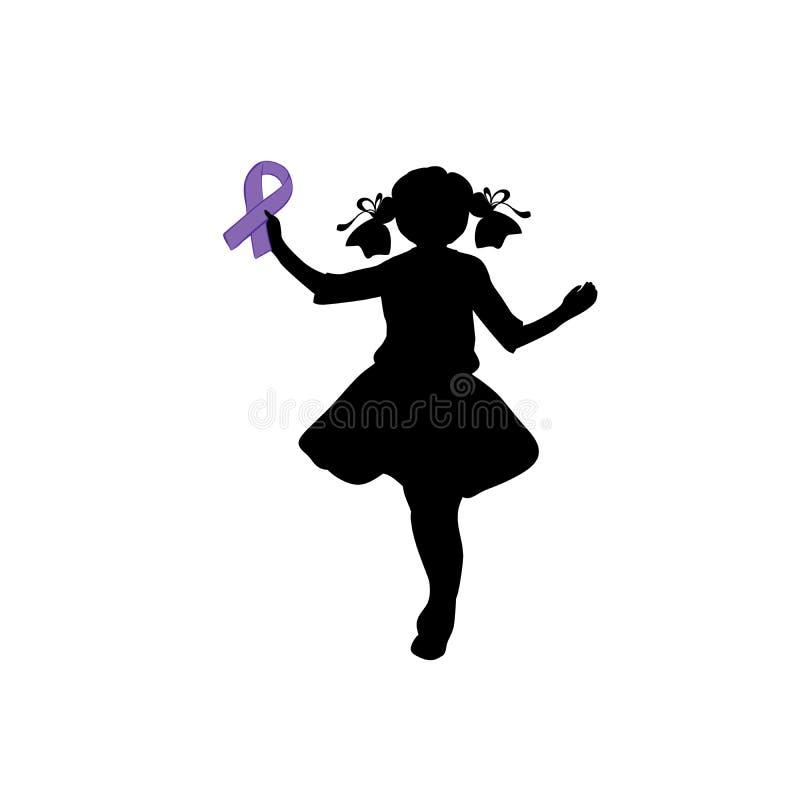 Fille de silhouette avec le ruban pourpre Jour d'épilepsie du monde illustration de vecteur