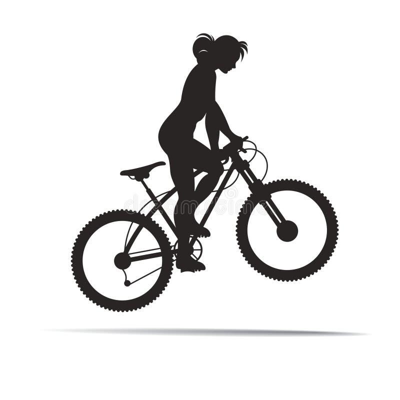 Fille de silhouette sautant avec le vélo illustration stock