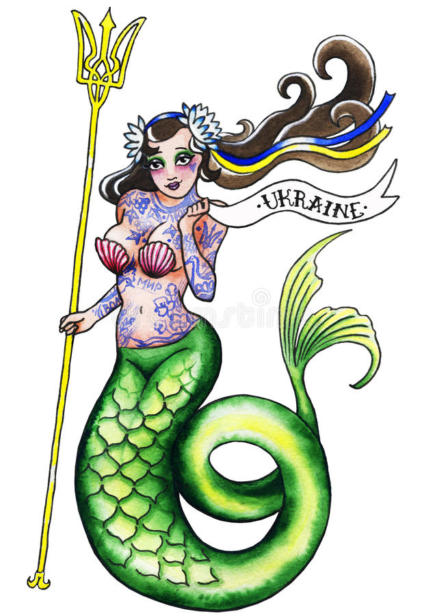 Fille de sirène avec le tatouage images stock