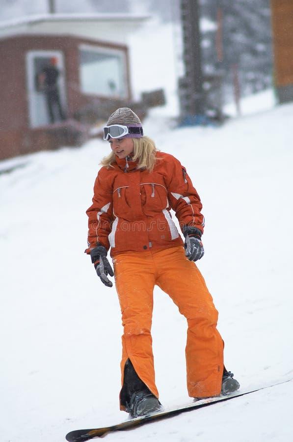 Fille de Snowboard photos stock