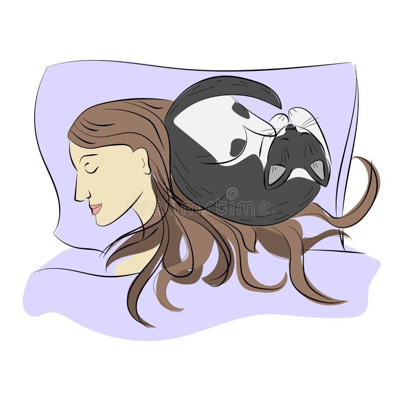 Fille de sommeil avec le chat croquis Vecteur illustration libre de droits