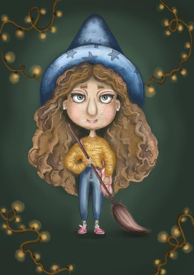 Fille de sorcière avec un balai volant dans les mains, le chandail jaune, les cheveux bouclés et un grand chapeau bleu image stock