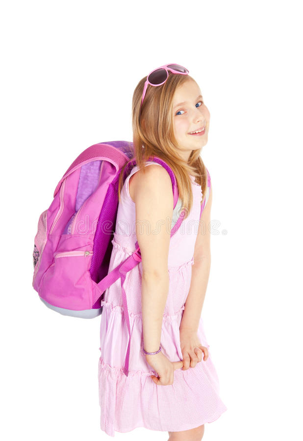 Fille de sourire avec le sac à dos au-dessus du blanc photo stock