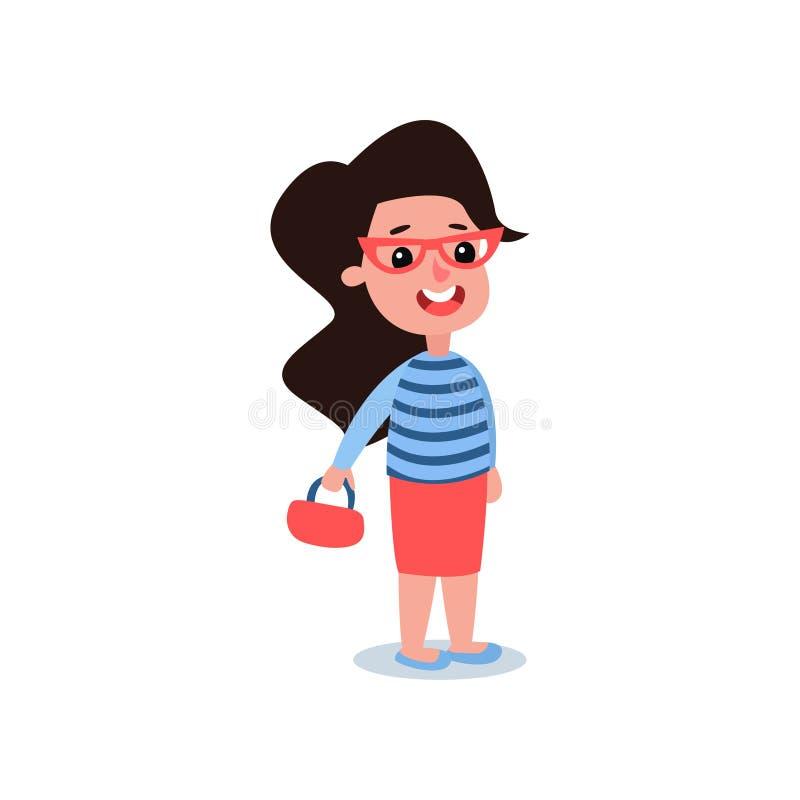 Fille de sourire avec les cheveux noirs dans le chandail bleu d'usage à la mode avec les rayures, la jupe rouge et le sac à main  illustration stock