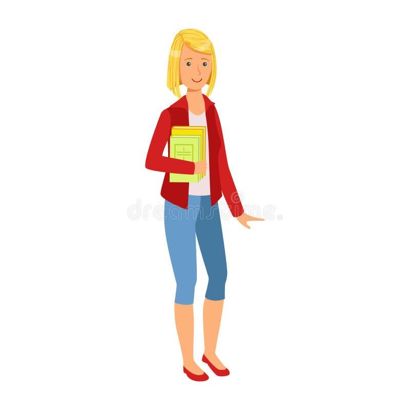 Fille de sourire d'étudiant dans la veste rouge tenant des livres dans des ses mains Illustration colorée de bande dessinée illustration de vecteur