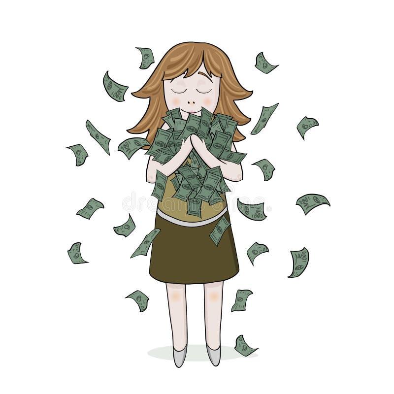 Fille de sourire d'isolement avec l'argent illustration libre de droits
