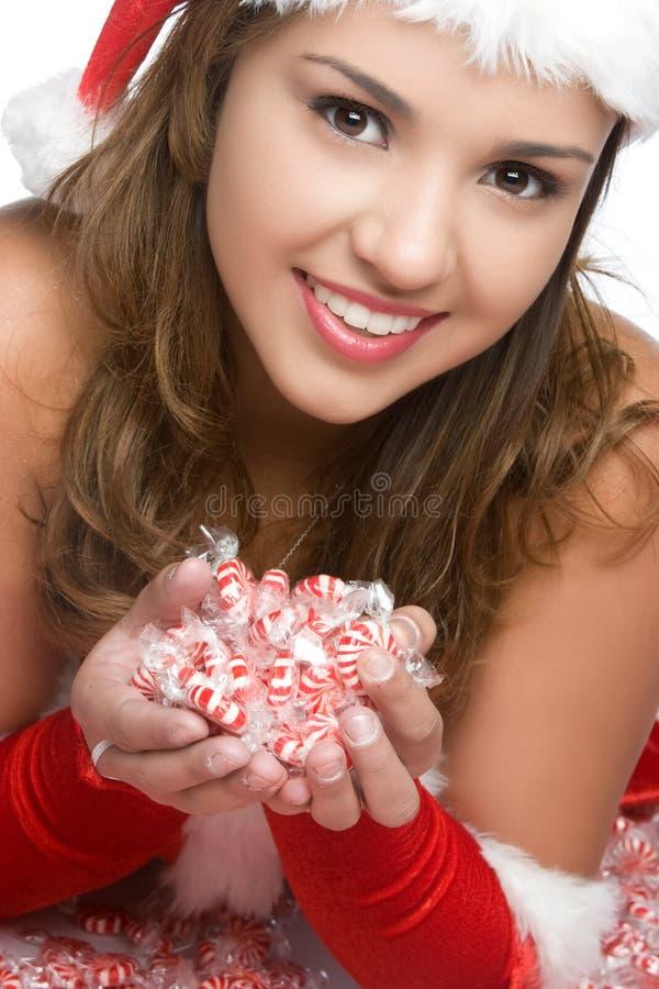 Fille de sourire de Noël photographie stock libre de droits