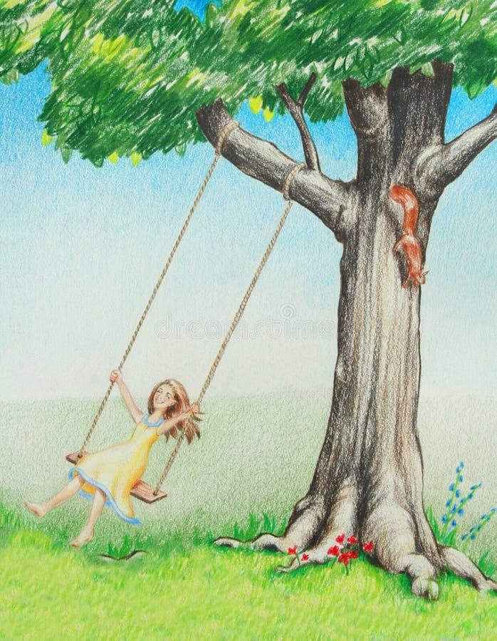 Fille de sourire heureuse balançant sur l'arbre en nature illustration libre de droits