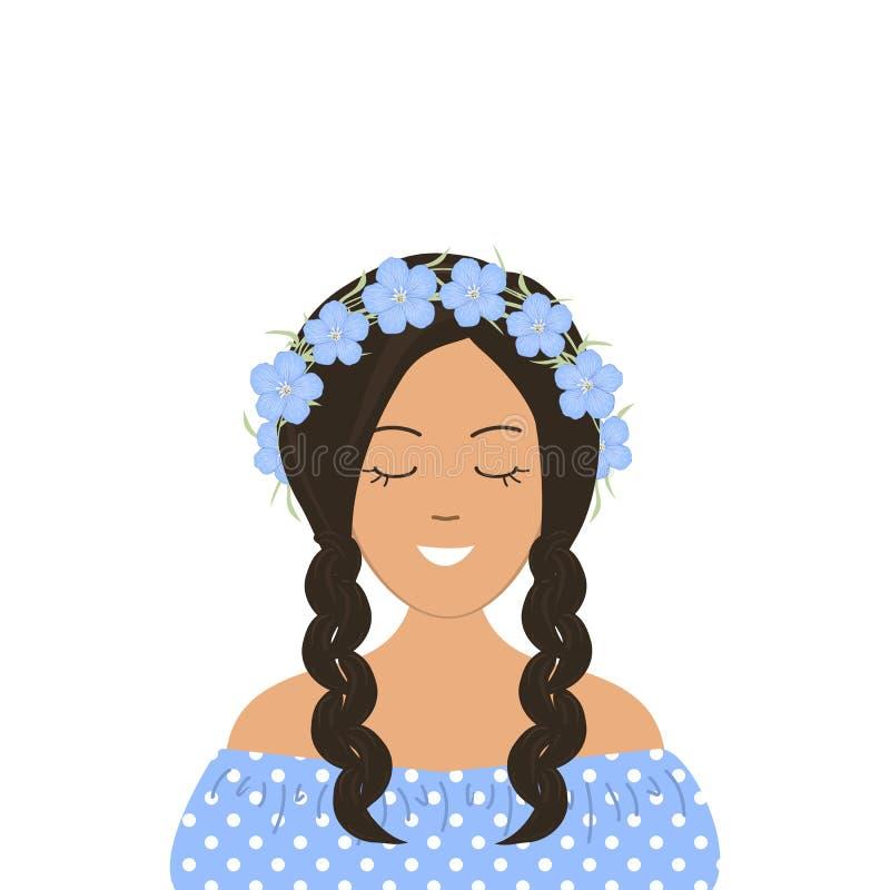 Fille de sourire mignonne avec des tresses dans une guirlande des fleurs bleues Portrait illustration libre de droits