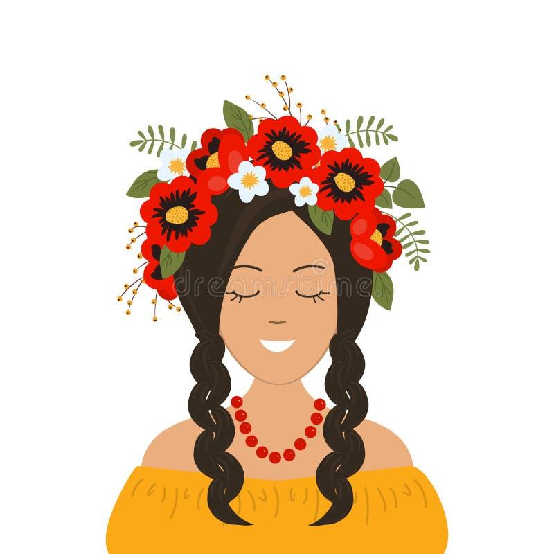 Fille de sourire mignonne avec des tresses dans une guirlande des fleurs, des feuilles et des baies rouges illustration stock