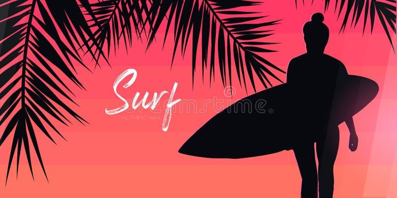 Fille de surfer avec la planche de surf sur le fond coloré de gradient avec des palmettes illustration stock