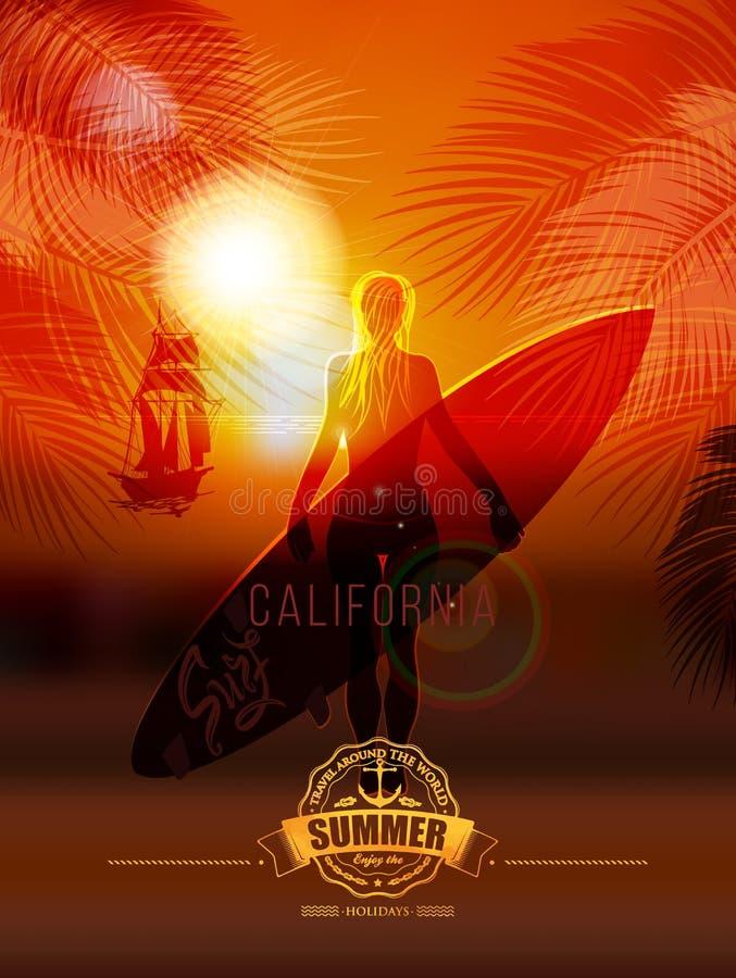 Fille de surfer sur le fond de mer illustration libre de droits