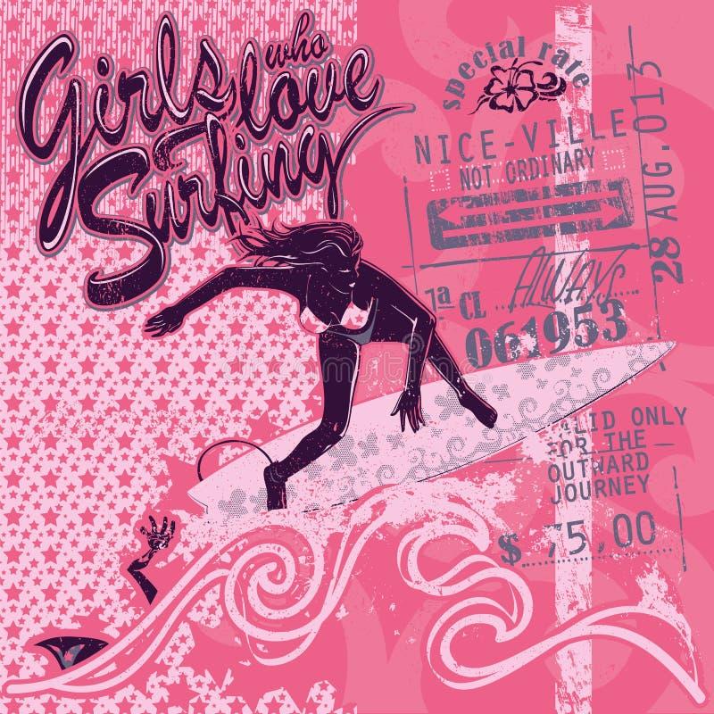 Fille de surfer sur le fond graphique rose, calibre de vecteur Bande dessinée, style plat, silhouette, marquant avec des lettres illustration libre de droits